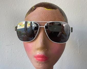 White Wire Frame Aviator Sunglasses Camo Trim Exalt Cycle Vintage 1990s Y2K