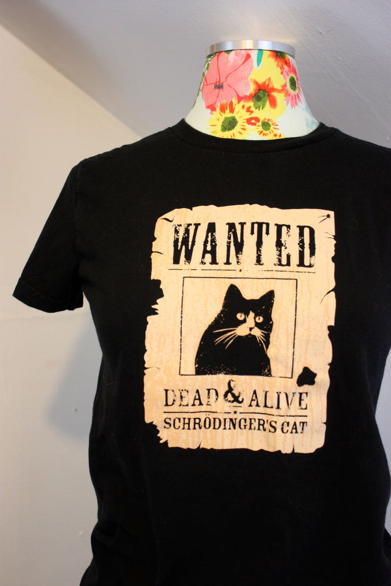 44d33516e American Apparel Wanted Schrodingers Cat Silkscreen Black Tee | Etsy