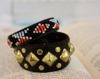 Punk Delux | Handmade Black Leather Cuff with Gold Tone Square Studs Snap Closure | Upcycled Leather | Retro Rocker