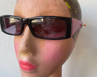Cranberry Red + Black Sunglasses Violet Lenses NOS Mandrina Duck Vintage 1990s Premium Eye Wear Made in Italy
