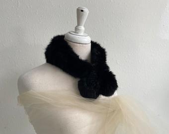 Braided Black Rabbit Fur Scarf Vintage 1950s 1960s Lux Lady GENUINE FUR