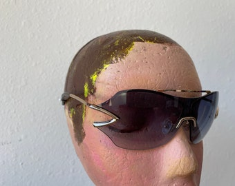 Y2K Sunglasses Unique Avant Garde Junior Shades Antique Silver Vintage 1990s 2000 Deadstock Eye Wear Italy