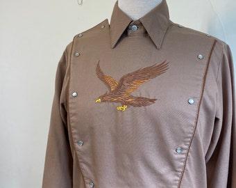 Rockmount Ranch Wear Hawk Embroidered Western Shirt Snap Front Cowboy Bib Cocoa Brown Vintage 1970s 1980s Mens Medium