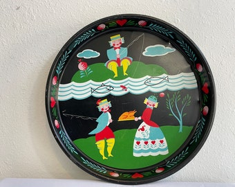 Mod Amish Folksy Black Teal + Red Steel Metal Serving Tray 1960s Home Bar Home Decor