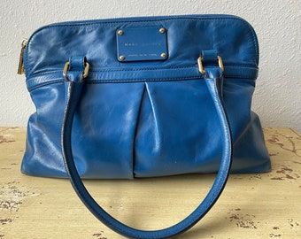 Marc Jacobs Electric Blue Oversized Leather Purse Vintage 1990s Luxury Hand Bags