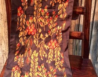 Vintage brown & red Pixel Floral scarf