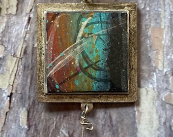 Original Acrylic Painting Encapsulated in Resin Pendant, Necklace
