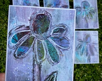 Original Art Note cards, set of 6.  Printed from original mono-print florals. *Free Shipping