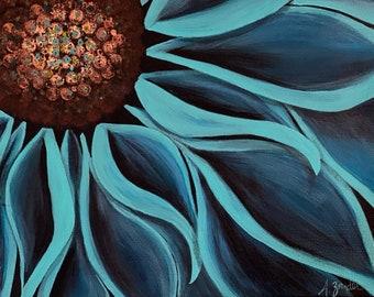 Original acrylic painting, Flower in Teal