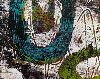 Original Abstract Acrylic Painting  +Mono Printing