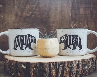 Mama and Papa Bear Campfire Mug, Mama and Papa Bear Mug, Mama Bear Mug, Papa Bear Mug