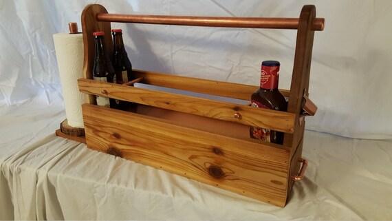 cedar and copper grill caddy
