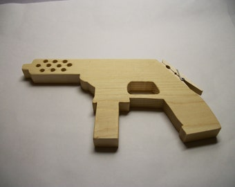 Wooden Toy Rubber Band Tommy Gun