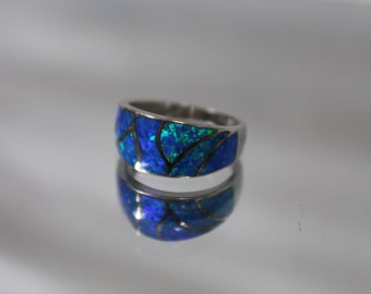 925 - Vivid Blue Opal Dublet Contoured Band in Sterling Silver