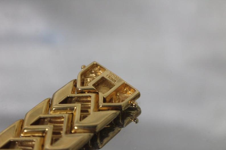 925 Vintage Woven Link Design Criss Cross Bracelet in Stunning Gold Tone Sterling Silver