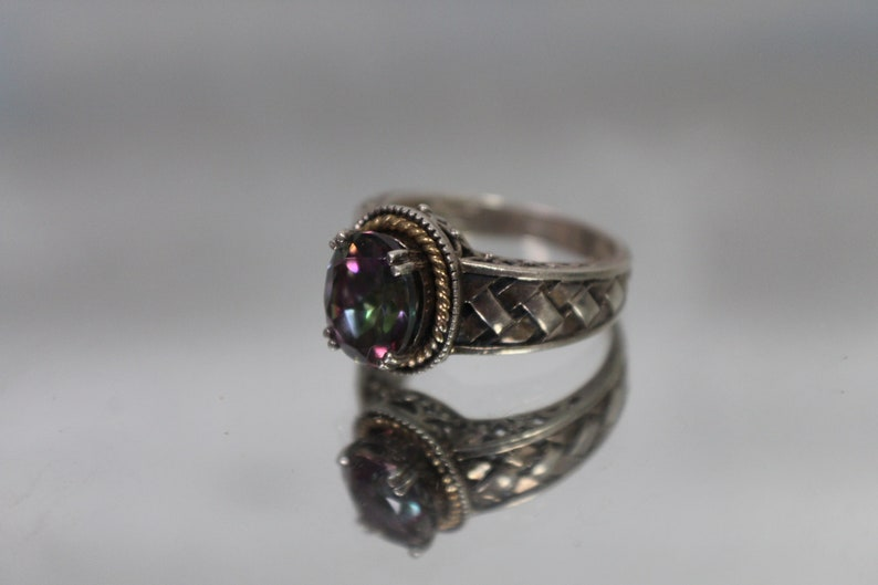 925 /& 14k Vintage Mystic Topaz Ring w Cross Hatched Weave Woven Shoulders in Sterling Silver and Yellow Gold