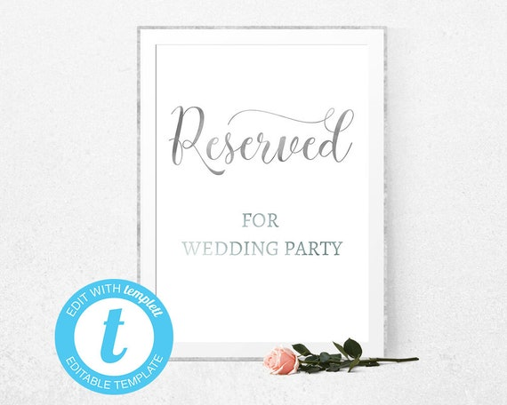 reserved table sign wedding signs printable wedding signs etsy