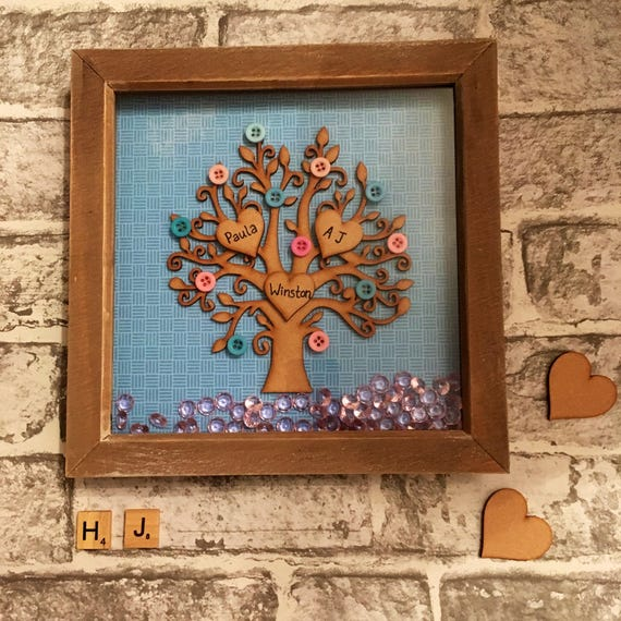 Wallverbs Family Tree Personalized Picture Frame Set: Personalised Family Tree Wooden Family Tree Family