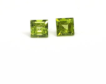 Peridot Gemstones 5mm Princess cuts, listing for 1 matched pair.