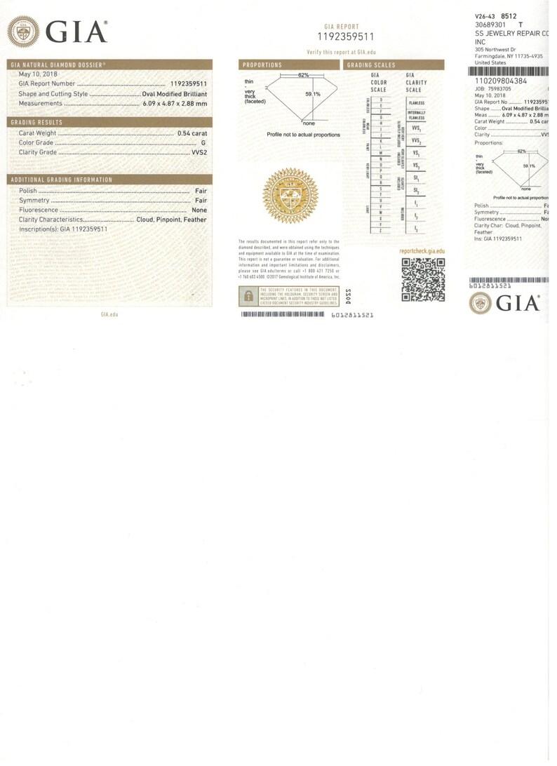 Oval Loose Diamond 54pts G Vvs2 Quality Gia Certified Etsy