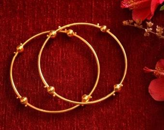 7a96188ac51 Golden indian Gold Plated Brass Plain Thin Daily Wear golden ball bangles  bangle set Vintage Gold Tone Bracelet Kada Bridal Wedding saree