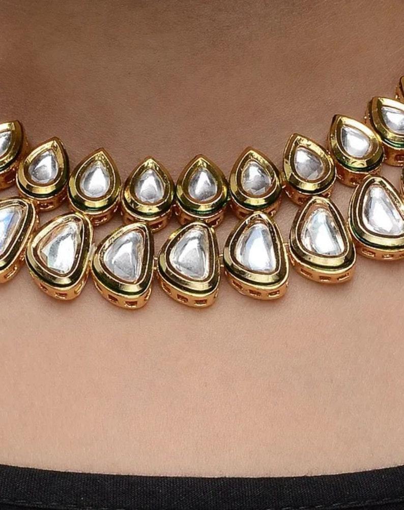 Kundan Choker Necklace Set traditional Indian wedding golden plated kundan jewellery set Gold Tone Kundan Necklace with Earrings Set of 2