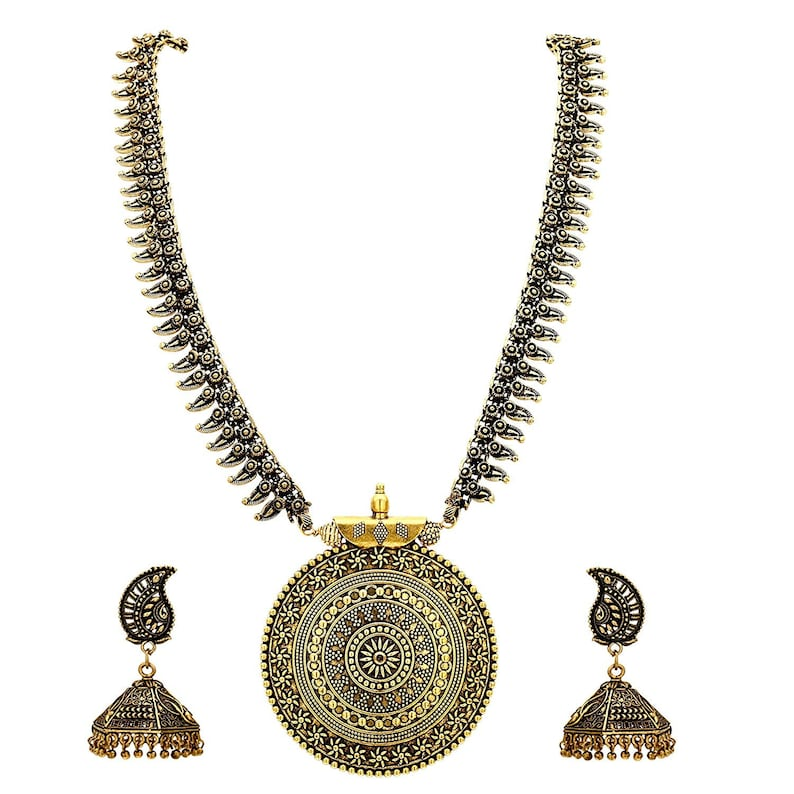 k Long golden antique Full necklace set with Earrings traditional Indian wedding plated jewellery set Necklace Set of 2