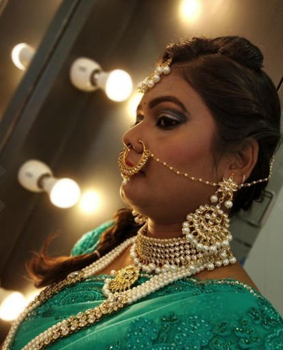 Set of 2 Kum traditional Indian wedding golden plated kundan jewellery set Necklace Gold Tone Kundan Inspired Pearl Necklace with Earrings