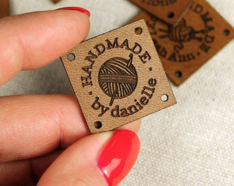 Custom Leather Labels - Personalized Leather Labels - Handmade tags - Labels for knitting and crocheting