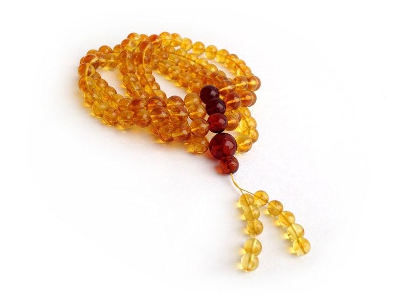 Amber Tibetan Buddhist Zen Mala for Praying, Yoga and Meditation, 108  Japa-Mala Round Beads of Yellow Lemon Color, Amber Gemstones, 10mm