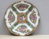 Chinese Plate Da Qing Qianlong Nian Zhi Mark 19th - 20th Famille Rose Hand Painted Rose Medallion Famille Rose Chinese plate