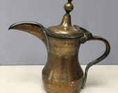 12 quot Signed Arabian Dallah intricately tooled brass beautiful quality Vintage Persian Arabic Antique Coffee Pot