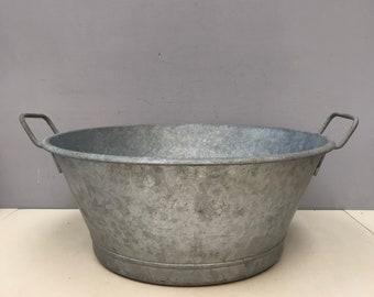 French Vintage Oval Zinc Tub Bassin Xtra Large-