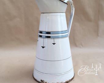 Large Vintage Enamelware French White Large Enamel Water Pitcher or Jug. Elegant Shape in chippy white with blue black design.