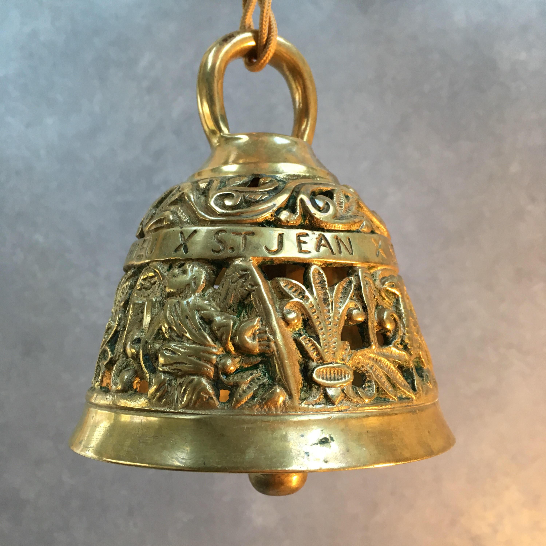 Antique French Ornate Gold Bronze Bell Religious Saints St Jean St Lucas St  Marc St Mathieu Christian