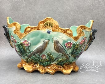 Antique Onnaing French Majolica Barbotine Jardiniere Planter Flowers song birds green, turqoise with ochre details 1800s