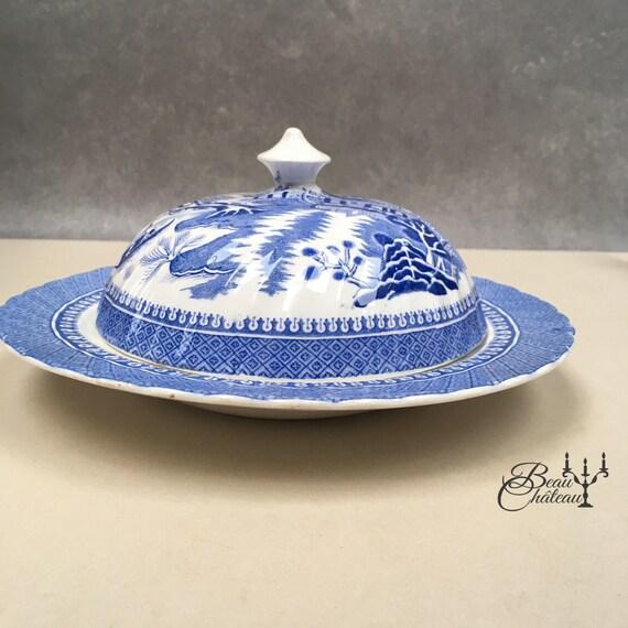 Alcock semi Chine beurrier, un plat de service couvert. antique saule motif plaque bleu blanc transferware. Excellent état