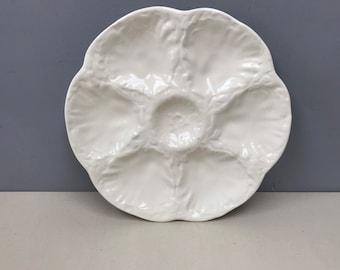 GIEN French Oyster Plate. Ivory White Glaze scallop design. Elegant and Tasteful Vintage or Clam Serving platter