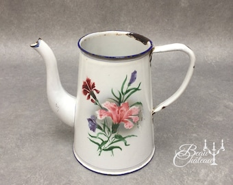 FREE SHIPPING Floral Vintage Enamelware French White Enamel Water Pitcher or Jug. Elegant Shape in chippy white with pretty flowers design