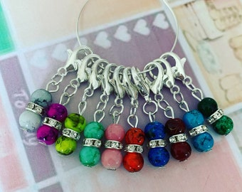 PRETTY GEMS stitch markers - Stitch markers, keyrings for crochet & knitting