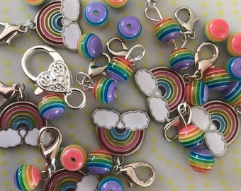 OVER THE RAINBOW stitch markers - Pride - Set of 6 - Stitch markers/progress markers/notions for crochet & knitting