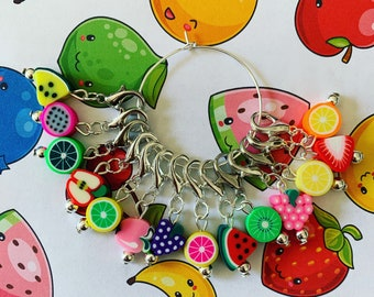 FRUIT SALAD stitch markers - Stitch markers, keyrings for crochet & knitting