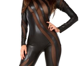 c08351a5c7ad Faux Leather Sexy Black Jumpsuit