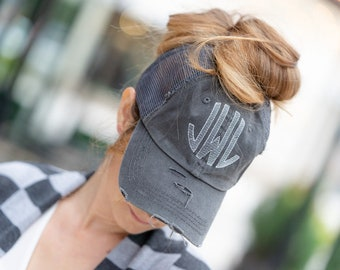 46ee89cdd4b Monogrammed Pony Tail Hat