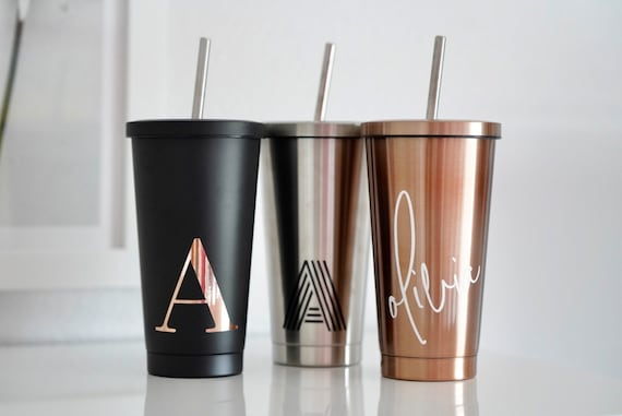 Stainless Steel Tumbler With Straw Insulated Water Bottle Etsy