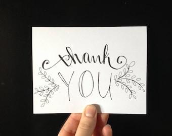 thank you card, thank you, blank card, minimalist card, A6 card