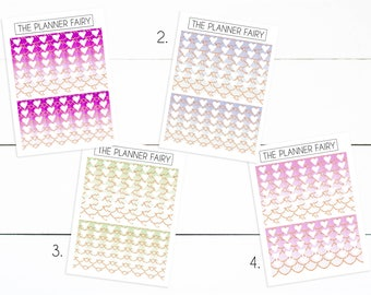 Gradient Mermaid Scale Ribbon Checklists || The Planner Fairy Checklist Planner Stickers
