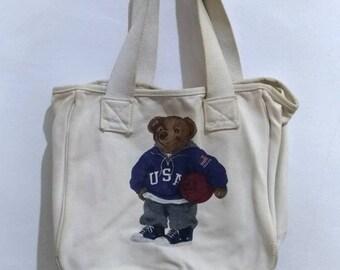 5c02a48719 Vintage 90 s POLO BEAR Ralph Lauren tote bag