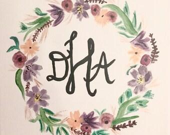 Monogram Floral Wreath - Summer Field