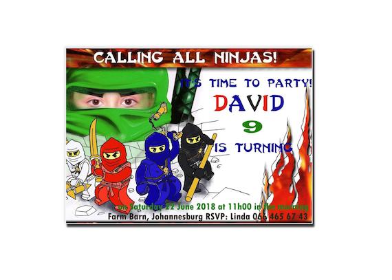 Invitación De Cumpleaños Ninjago Tarjeta Personalizada Ninjago Tarjeta De Invitación Ninjago Tema De Ninjago Postal Ninja Invitación Ori